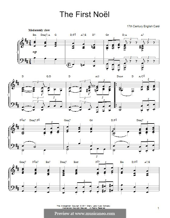 The First Nowell (The First Noël), for Piano: In D Major by folklore