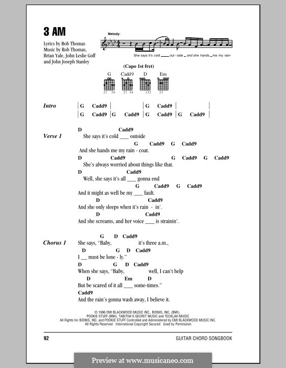 3 AM (Matchbox Twenty): Lyrics and chords by Brian Yale, Jay Stanley, John Goff, Rob Thomas