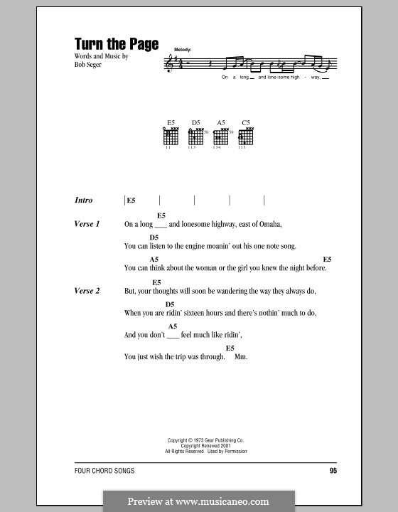Turn the Page by B. Seger - sheet music on MusicaNeo