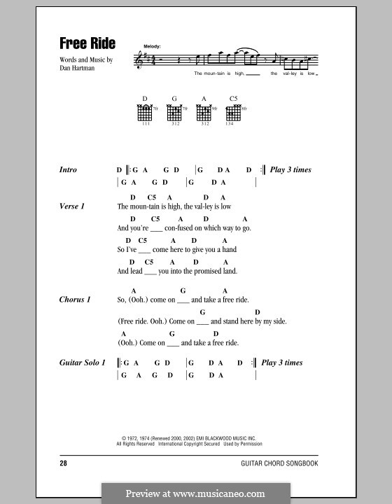 Free Ride (Edgar Winter Group): Lyrics and chords by Dan Hartman