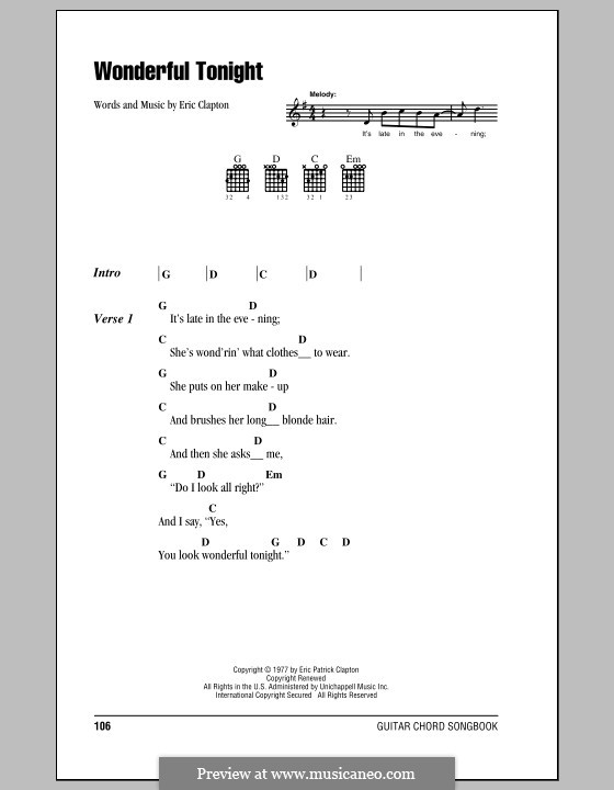 Wonderful Tonight: Lyrics and chords by Eric Clapton