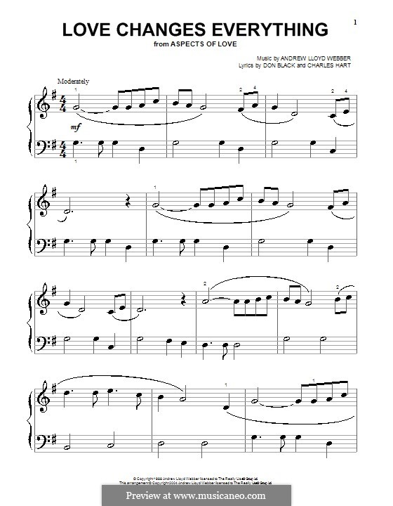 Love Changes Everything: For piano (high quality sheet music) by Andrew Lloyd Webber