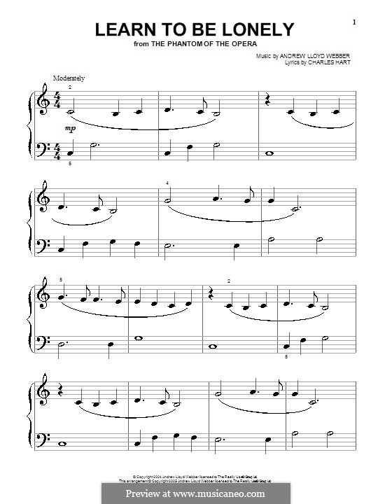 Learn to be Lonely: For piano by Andrew Lloyd Webber