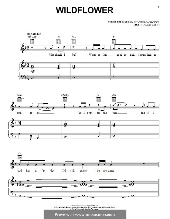 Wildflower (Cee Lo Green): For voice and piano (or guitar) by Fraser T. Smith, Thomas Callaway