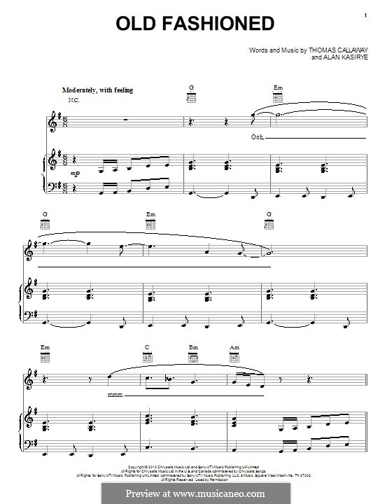 Old Fashioned (Cee Lo Green): For voice and piano (or guitar) by Alan Kasirye, Thomas Callaway