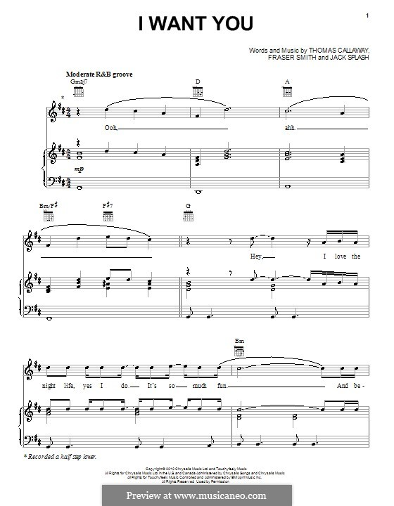 I Want You (Cee Lo Green): For voice and piano (or guitar) by Fraser T. Smith, Jack Splash, Thomas Callaway
