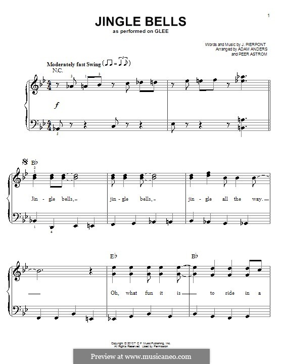 Jingle Bells For Piano By Jl Pierpont Sheet Music On Musicaneo