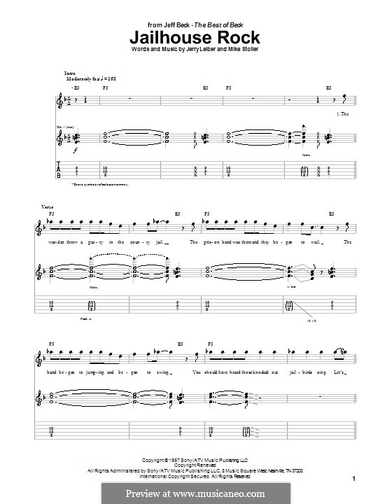 Jailhouse Rock (Elvis Presley): For guitar with tab by Jerry Leiber, Mike Stoller