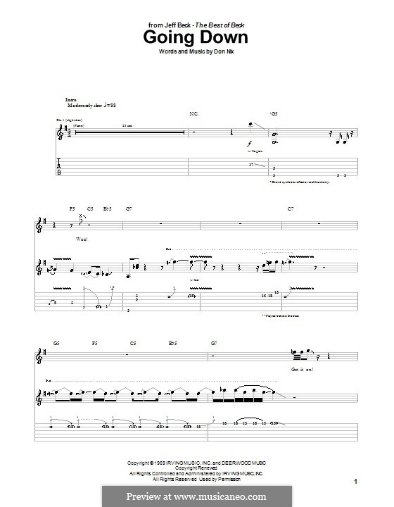 Going Down: For guitar with tab by Jeff Beck