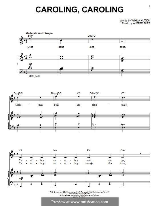Caroling, Caroling (Nat King Cole): For voice and piano (F Major) by Alfred Burt