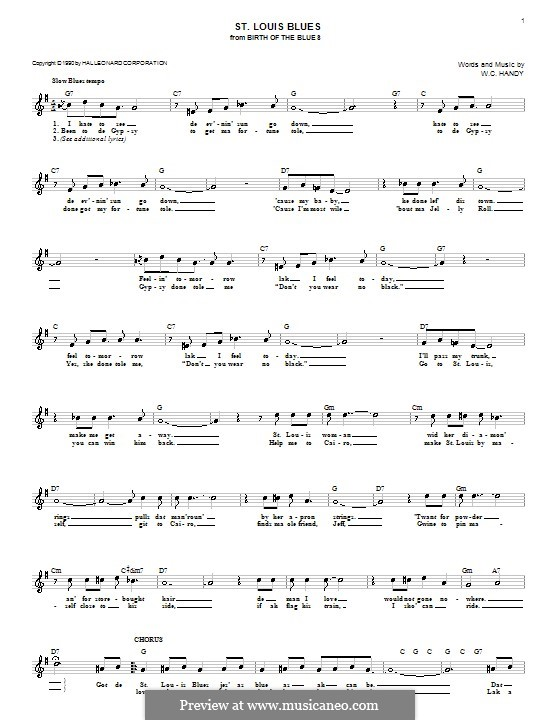 St. Louis Blues: Melody line, lyrics and chords by William Christopher Handy