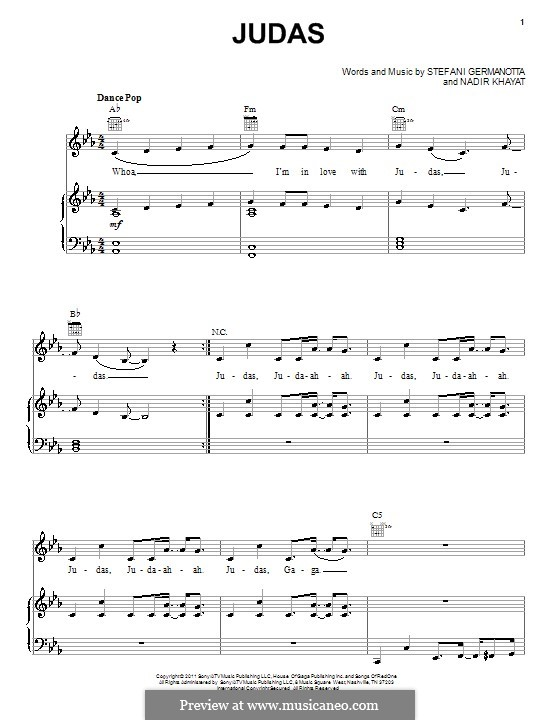 Judas (Lady Gaga): For voice and piano (or guitar) by RedOne, Stefani Germanotta