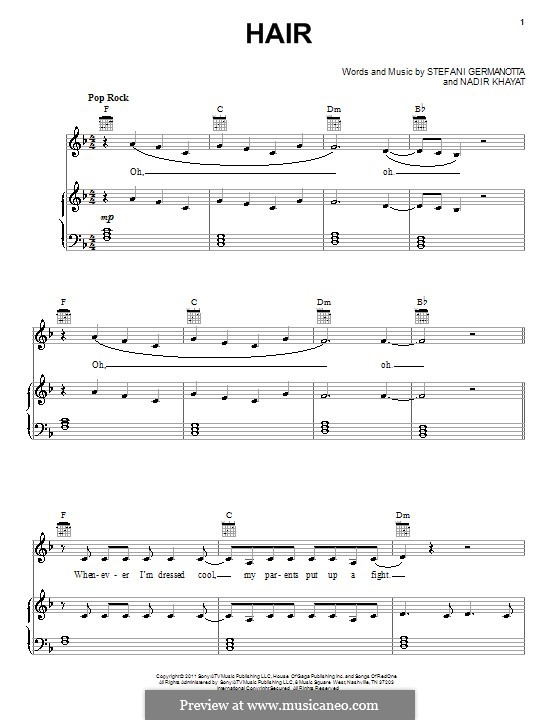 Hair (Lady Gaga): For voice and piano (or guitar) by RedOne, Stefani Germanotta