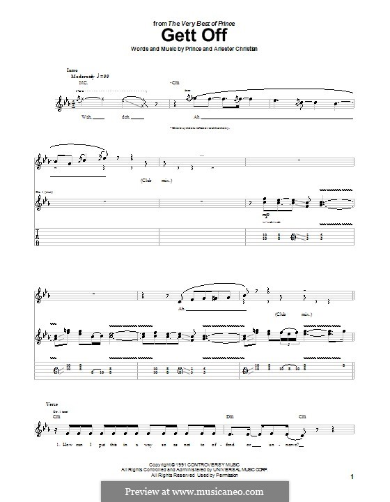 Gett Off (Prince): For guitar with tab by Arlester Christian