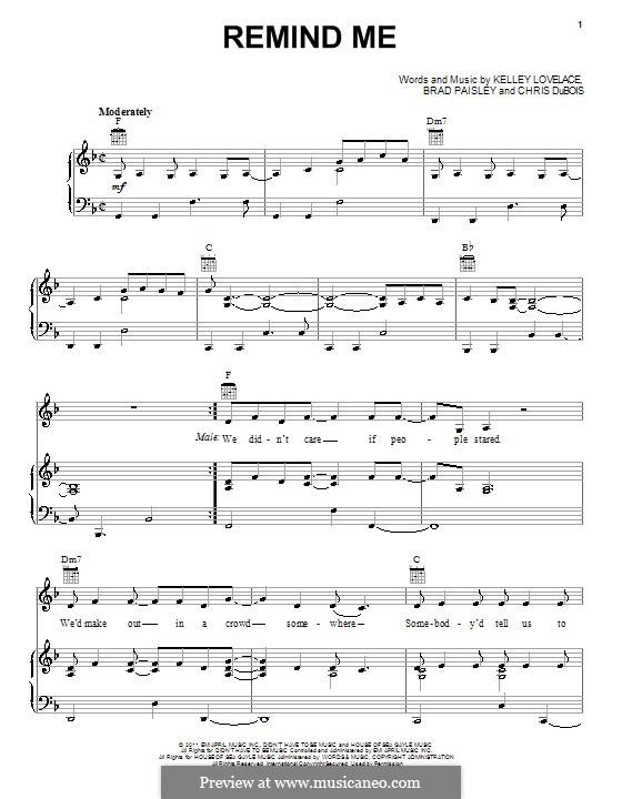 Remind Me (Brad Paisley & Carrie Underwood): For voice and piano (or guitar) by Brad Paisley, Chris DuBois, Kelley Lovelace