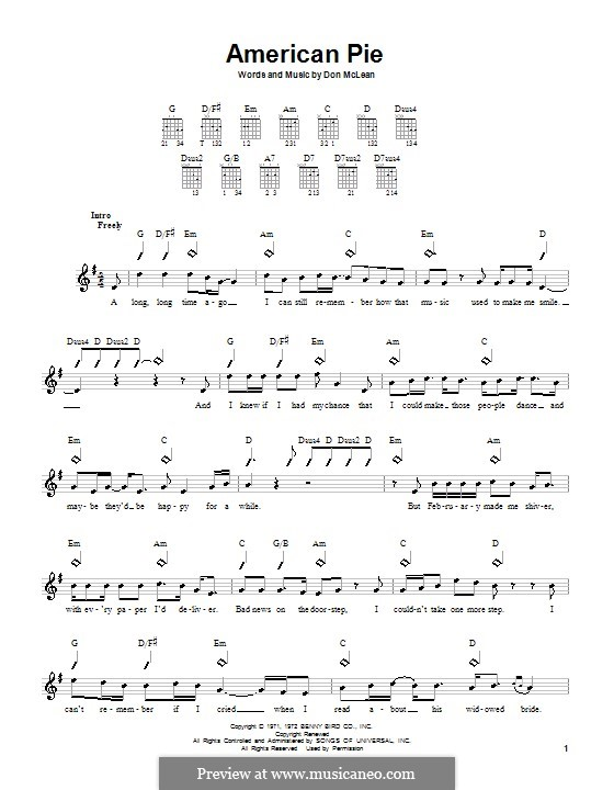 American Pie (Madonna) by D. McLean - sheet music on MusicaNeo