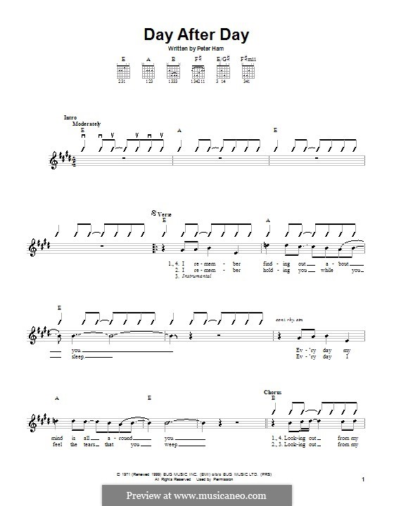 Day After Day (Badfinger): For guitar by Peter Ham