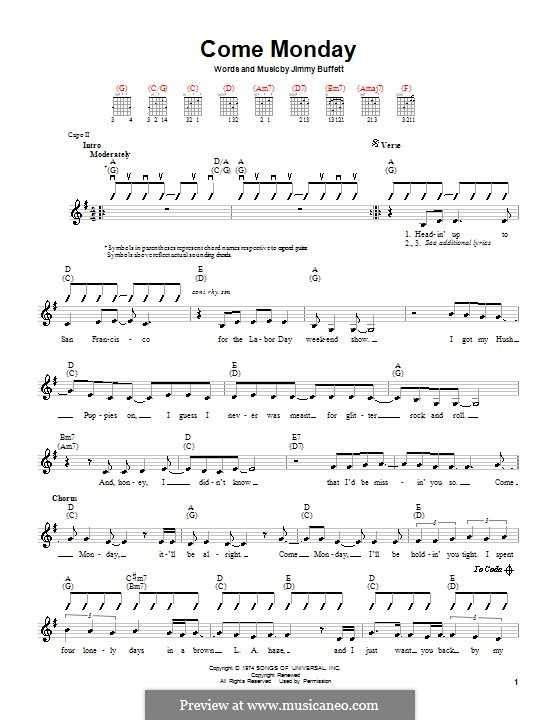 Come Monday: For guitar by Jimmy Buffett