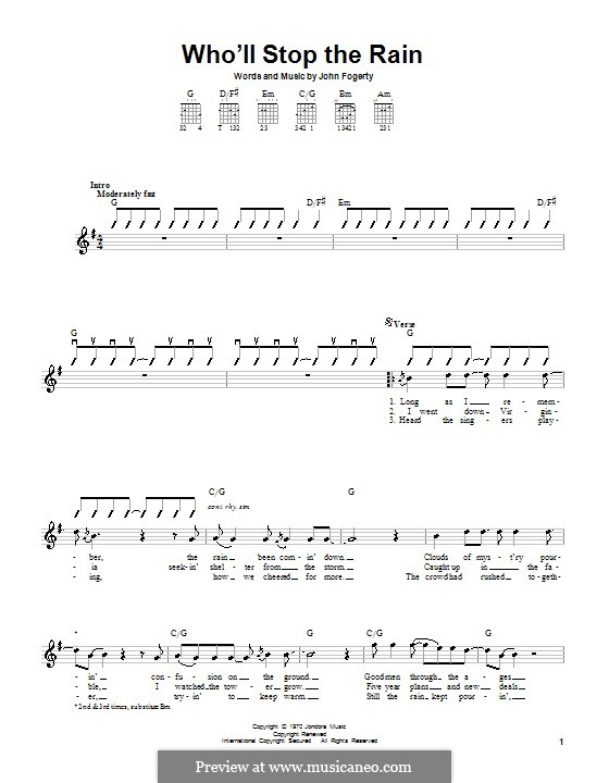Who'll Stop the Rain (Creedence Clearwater Revival): For guitar by John C. Fogerty