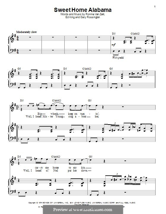 Sweet Home Alabama (Lynyrd Skynyrd): For voice and piano by Ed King, Gary Rossington, Ronnie Van Zant