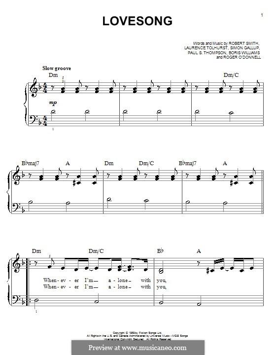 Lovesong (Adele): For easy piano by Boris Williams, Laurence Tolhurst, Porl Thompson, Robert Gary Smith, Roger O'Donnell, Simon Gallup