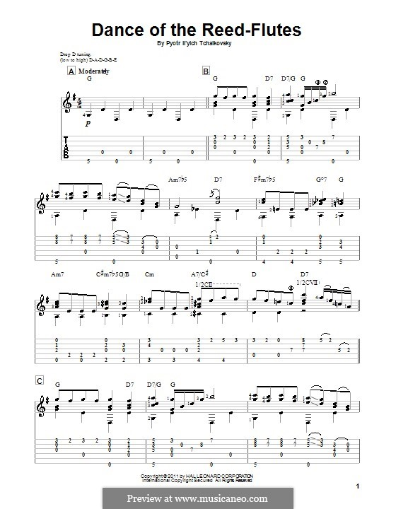 No.7 Dance of the Mirlitons: For guitar by Pyotr Tchaikovsky