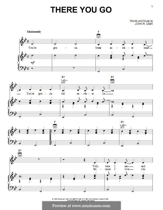 There You Go: For voice and piano (or guitar) by Johnny Cash