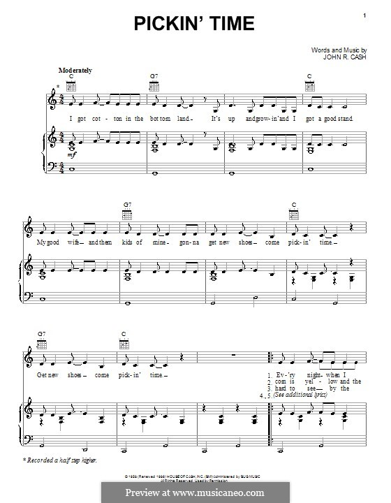 Pickin' Time: For voice and piano (or guitar) by Johnny Cash
