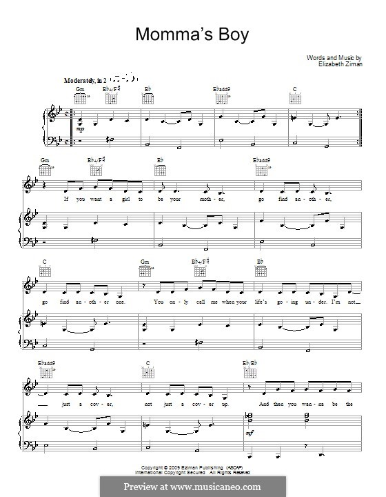Momma's Boy (Elizabeth & The Catapult): For voice and piano (or guitar) by Elizabeth Ziman