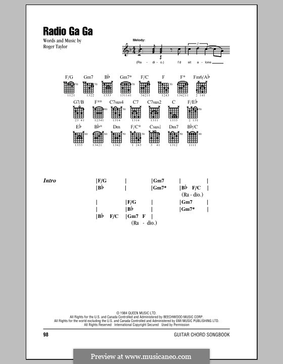 Radio Ga Ga (Queen): Lyrics and chords by Roger Taylor
