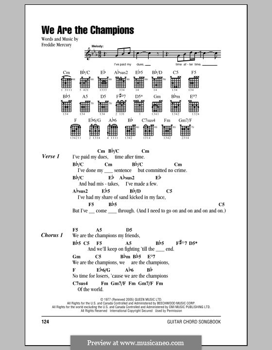 We are the Champions (Queen): Lyrics and chords by Freddie Mercury
