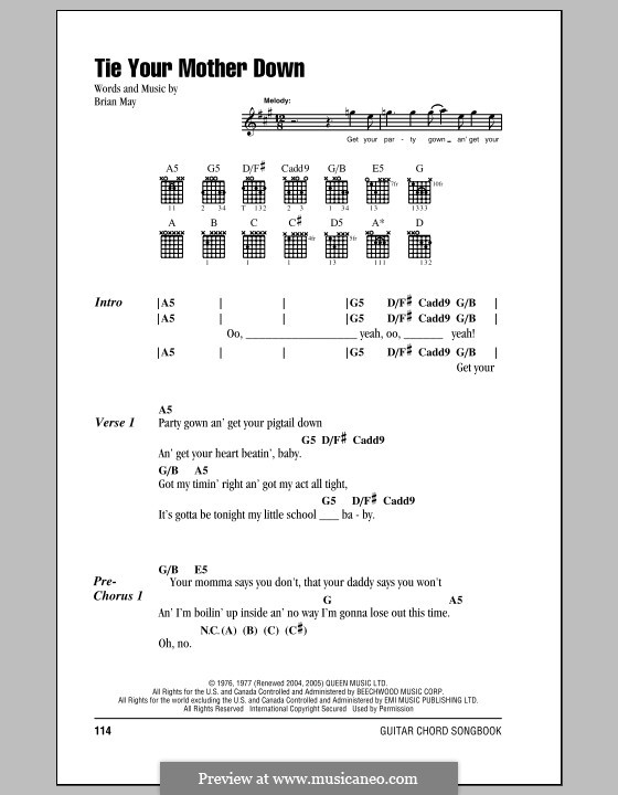 Tie Your Mother Down (Queen): Lyrics and chords by Brian May