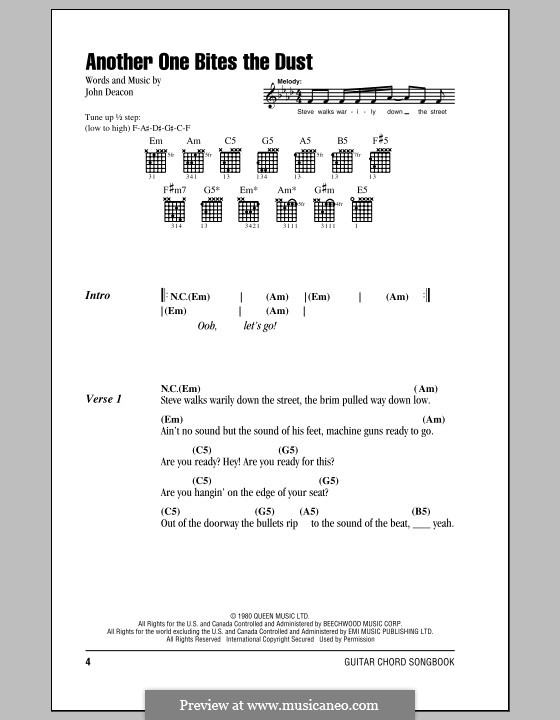Another One Bites the Dust (Queen): Lyrics and chords by John Deacon