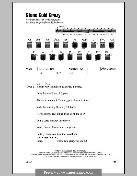 Stone Cold Crazy (Queen): Lyrics and chords by Brian May, Freddie Mercury, John Deacon, Roger Taylor