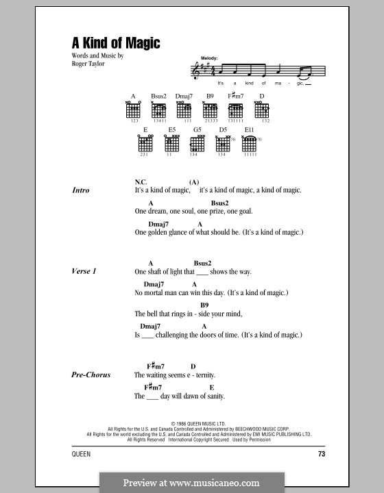 A Kind of Magic (Queen): Lyrics and chords by Roger Taylor