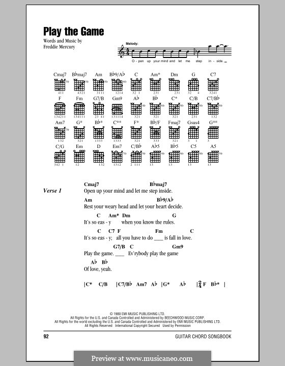 Play the Game (Queen) by Freddie Mercury - sheet music on MusicaNeo