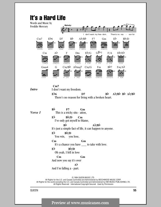 It's a Hard Life (Queen): Lyrics and chords by Freddie Mercury