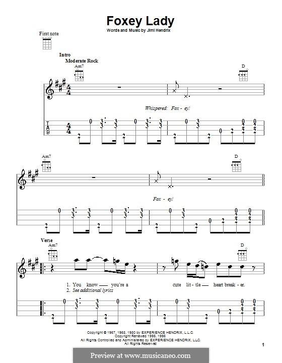 Foxy Lady: For ukulele by Jimi Hendrix