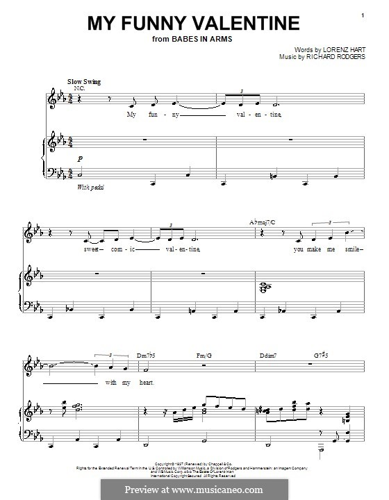 My Funny Valentine: For voice and piano by Richard Rodgers