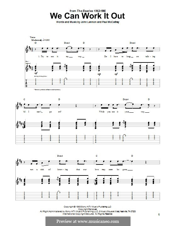 We Can Work it Out (The Beatles): For guitar with tabulature (D Major) by John Lennon, Paul McCartney
