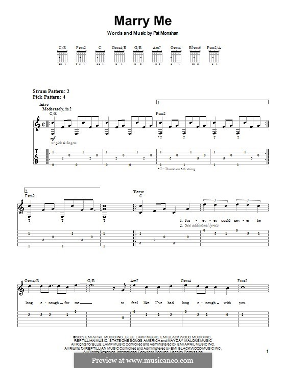 Marry Me (Train): For guitar (very easy version) by Patrick Monahan
