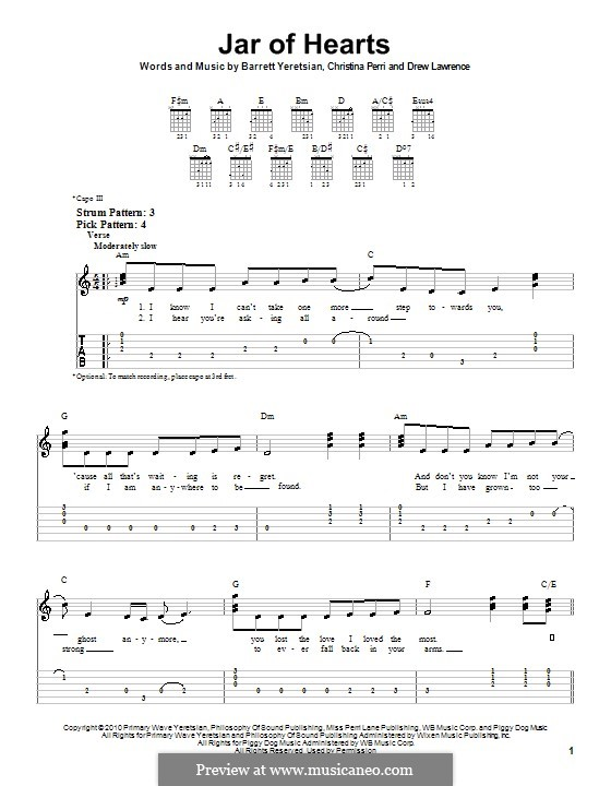 Jar of Hearts: Easy guitar tablature by Barrett Yeretsian, Christina Perri, Drew Lawrence
