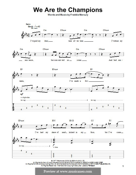 We are the Champions (Queen): For guitar by Freddie Mercury