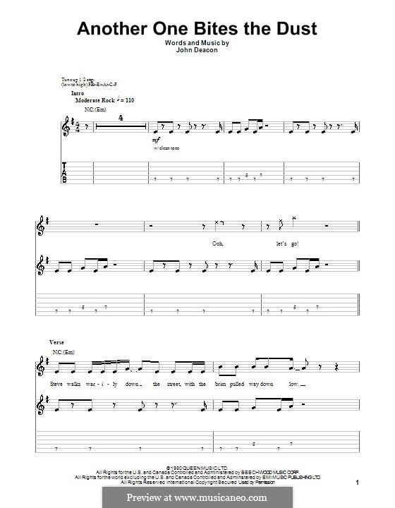 Another One Bites the Dust (Queen): For guitar by John Deacon