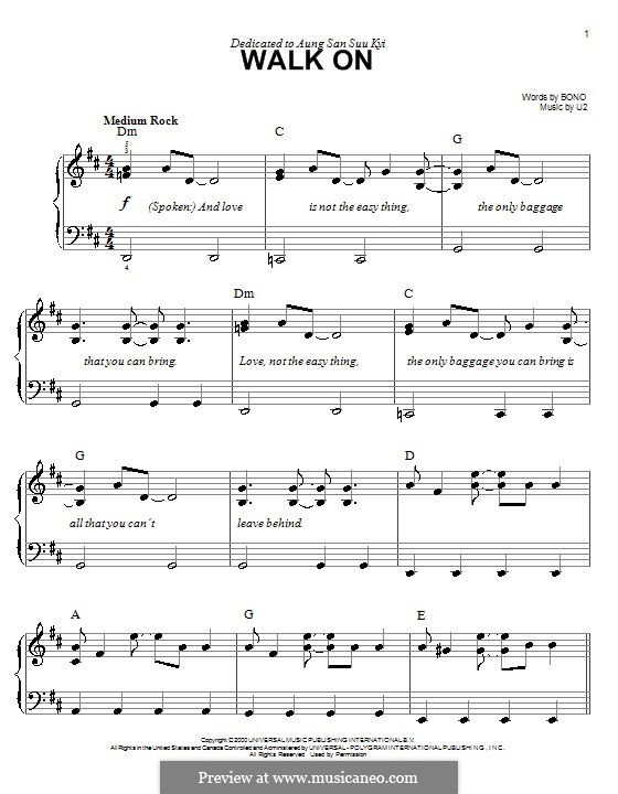 Walk on: For easy piano by U2