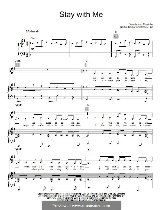 Stay with Me (Colbie Caillat): For voice and piano (or guitar) by Stacy Blue