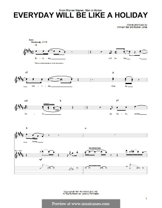 Everyday Will Be Like a Holiday: For guitar with tab by Booker T. Jones, William Bell