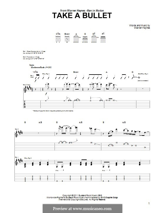 Take a Bullet: For guitar with tab by Warren Haynes