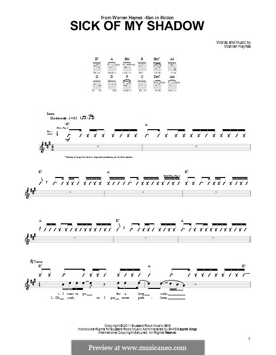 Sick of My Shadow: For guitar with tab by Warren Haynes