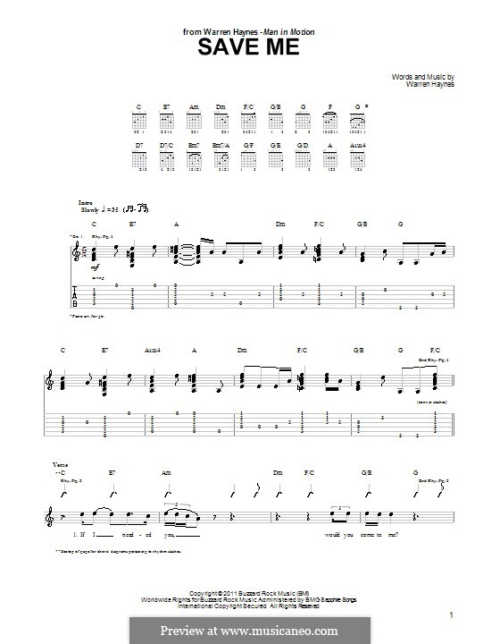 Save Me: For guitar with tab by Warren Haynes